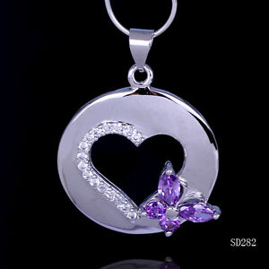 Amethyst Love Heart Dangle 925 Sterling Silver Jewelry Pendant / Necklace Chain