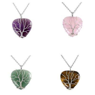 Silver Wrapped Tree Of Life Gemstone Heart Shape Pendant Fit Necklace Gift Gemstone Heart Shape Pendant
