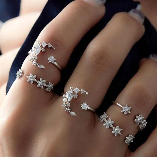 Boho 5Pcs/Set Moon Star Crystal Rings Women Vintage Wedding