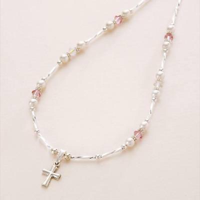 Sterlingsilber KREUZ HALSKETTE mit Perlen & Kristall für Mädchen,Damen,Baptism (Kreuz Halskette Für Mädchen)