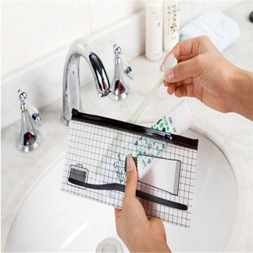 Clear  Zipper Toothbrush Toiletry Carry Pouch Waterproof Mak
