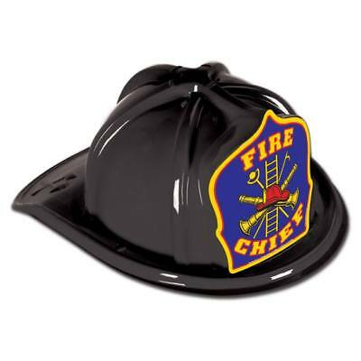Fire Chief Plastic Hat Black Child Size Firefighter Birthday Party - Firefighter Party Favors