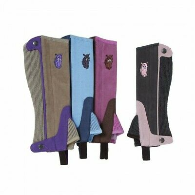 Childs Suede Half Chaps (Tough-1 Child's Synthetic Luxury Suede Half Chaps W/Embroidered -MED)