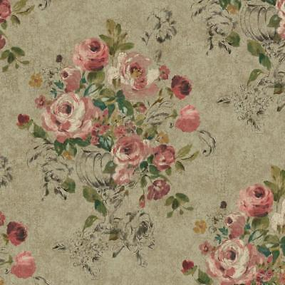 Wallpaper Large Floral in Vase Lavender Pink Black Green Yellow on Taupe -