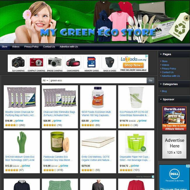 GREEN ECO STORE - Complete Functional Affiliate Online Business Website For Sale