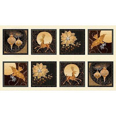 Golden Holiday Panel by Quilting Treasures-Ornaments-Deer-Poinsettia-Dove