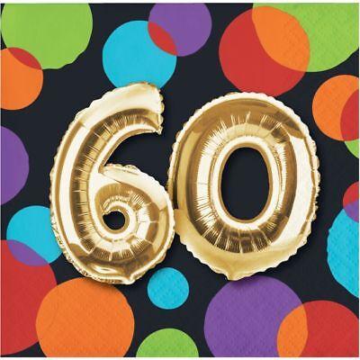 60th Birthday Napkins (Gold Balloon 60th Birthday Beverage Napkins 60th Birthday Party)
