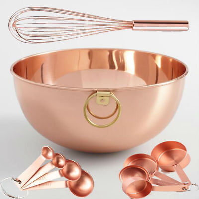 Copper Kitchen Set Bowl Measuring Cup Spoon Glam Baker Pastry Chef SHIPS FREE