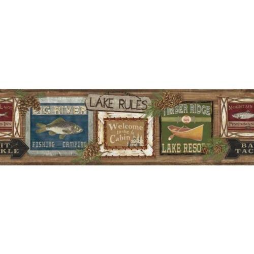 Lake, Cabin, Fishing, Lodge Signs on Sure Strip Wallpaper Border LG1451BD