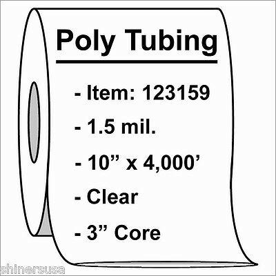 Poly Tubing Roll 10x4000 1.5 Mil Clear Heat Sealable Plastic Bag Roll 123159
