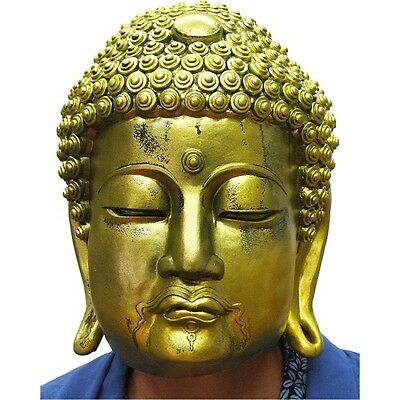 Golden Buddha Mask Rubber Party Mask Full Face Head Costume for Halloween](Golden Buddha Halloween Costume)