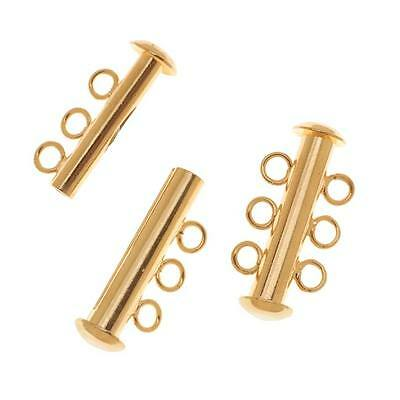22K Gold Plated Tube Clasp 22mm Three Rings Strands (2)