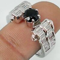 BLACK ONYX & WHITE TOPAZ STONE 925 STERLING SILVER RING  size 8.