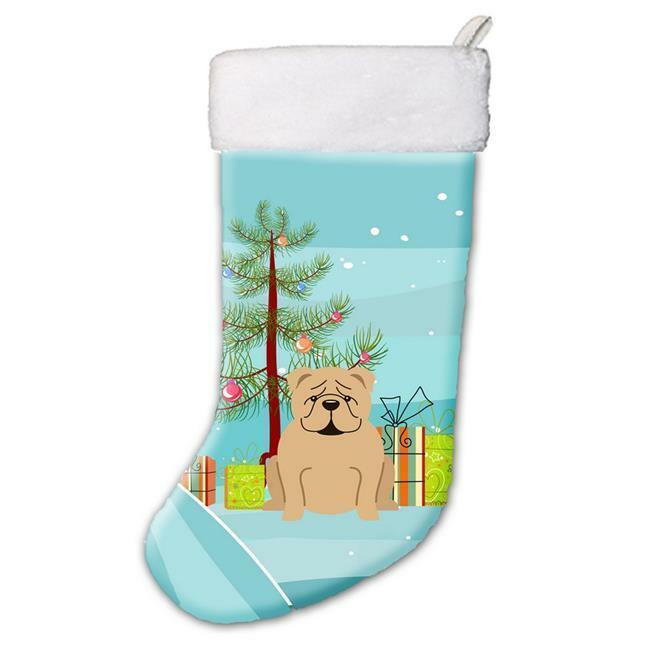Carolines Treasures BB4249CS Merry Christmas Tree English Bulldog Fawn Christ...