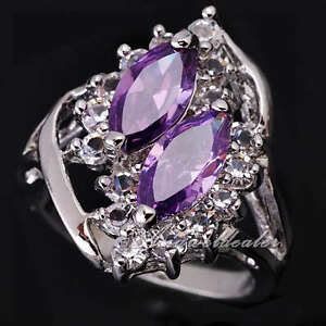 Double-Marquise-Stone-Lady-Genuine-S925-Sterling-Silver-Ring-Size-Selectable