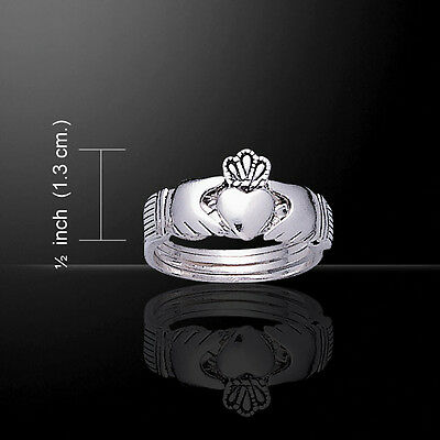 Irish Claddagh Puzzle Ring Celtic .925 Sterling Silver Peter Stone Jewelry (Claddagh Puzzle Ring)