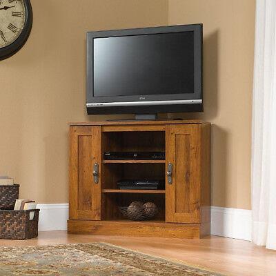 (Corner TV Stand Flat Screen Entertainment Center Console Media Cabinet Oak Wood)