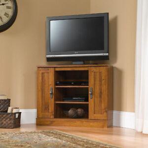 Corner Tv Stand Flat Screen Entertainment Center Console Media Cabinet Wood Oak