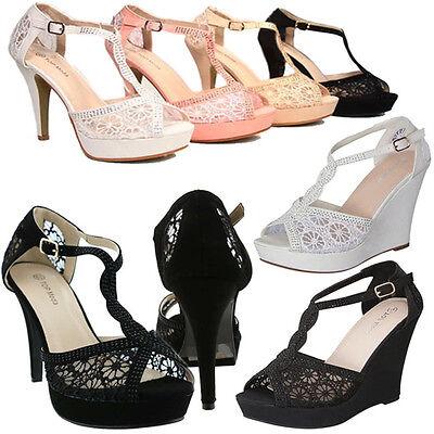 Toe Prom High Heel Pump (NEW Peep Toe Floral Lace High Heel Bridal Party Platform Prom Stiletto Pump Shoe )