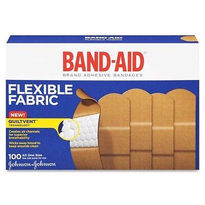 """100 Johnson & Johnson 4444 Flexible Fabric Band-Aids Bandaids 1"""" x 3"""" 100/box"""