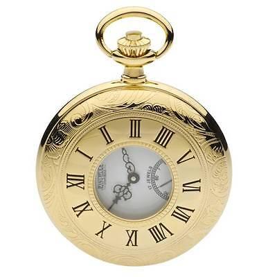 Jean Pierre 3 micron Gold Plated Half Hunter Pocket Watch. Mechanical.  G100PM