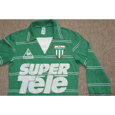 RARE AS Saint-Etienne Le Coq Sportif 1981-1982 Home L/S Football Shirt SMALL