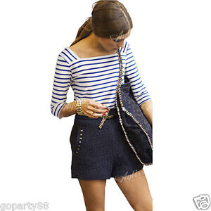 White blue striped navy long sleeve square neck womens t for Navy blue striped long sleeve shirt