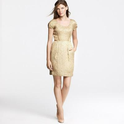 J CREW Gold Jacquard Sheath Dress Pockets Metallic Sz 2 WEDDING MOTHERS DAY for sale  Garden City