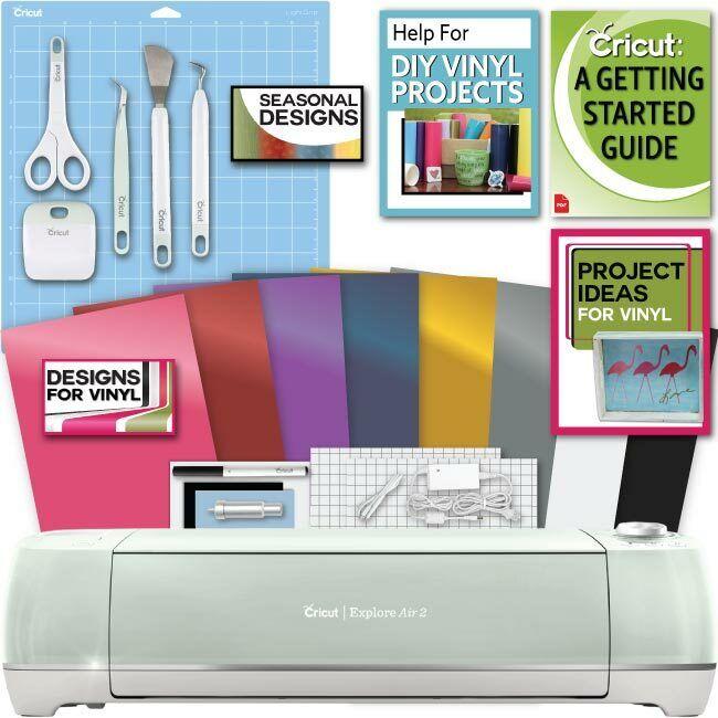 Cricut Explore Air 2 Machine Bundle - Beginner eGuide, Tool Kit, Vinyl, Designs