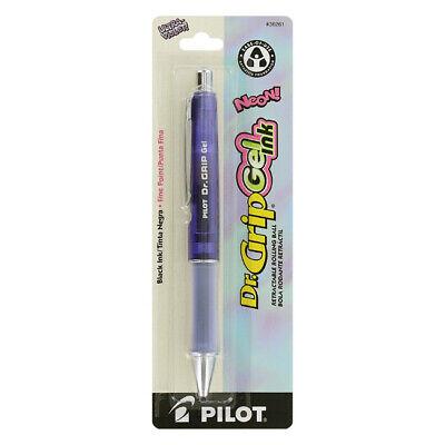 Pilot Dr. Grip Gel Ink Retractable Pen, Fine, Black Ink, Ultra Violet Barrel Grip Retractable Gel Ink