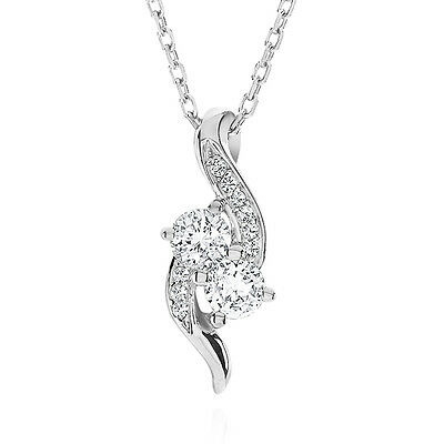 Created White Sapphire Bypass Pendant in Sterling Silver with Chain - 18""