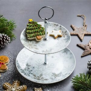 Holiday Snowflake Serving Platter 2 Tier NEW
