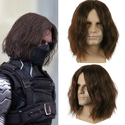 Movie Winter Soldier Mens Halloween Cosplay Props Barnes Curly Short Brown Wigs](Halloween Film Barn)