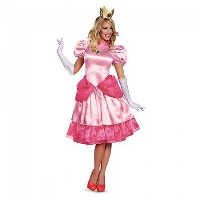 Princess Peach Halloween Costumes (Disguise Super Mario Princess Peach Deluxe Adult Womens Halloween Costume)