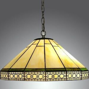 Vintage Tiffany-style Stained Glass Chandelier