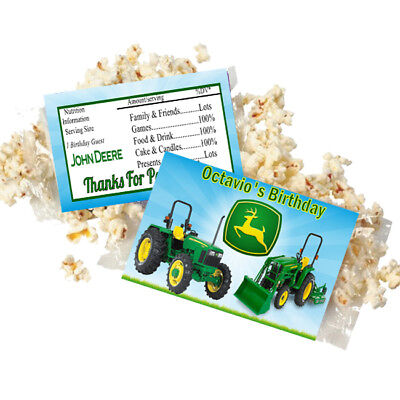 Popcorn Wrappers (20 Personalized JOHN DEERE Microwave Popcorn Wrappers Party Favors Standard Size )
