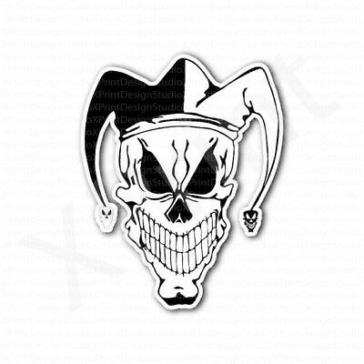 Jester Clown Skull Black and White Smiley Face Sticker