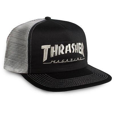 New THRASHER Skateboard Magazine Embroidered Logo Mesh Trucker Hat (Black/Grey)