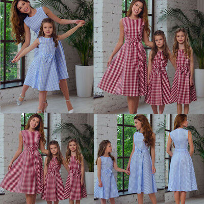 US Daughter Matching Dress Women Mom Family KIDS Clothes Plaid Outfits - Childs Tartan Dress