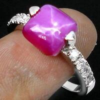 PINK STAR RUBY - WHITE TOPAZ ACCENT - 925 HALLMARKED RING - Sz 7