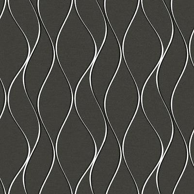 Charcoal Metal Finish (Wallpaper Modern Wavy Wave Metallic Silver Stripe on Charcoal Gray Satin Finish )
