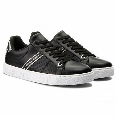 Mens Versace Jeans Leather Trainers Shoes Black White E0YRBSD1 UK 7 EU 41