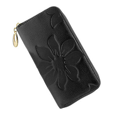 Womens Clutch Bag Card Holder Genuine Leather Wallet Flower Pattern Black Zip
