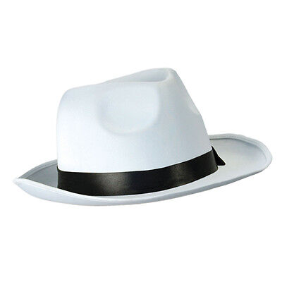 Adult White Gangster Hat 20S Gangster Michael Jackson Fedora Fancy Dress Prop - Michael Jackson 20s