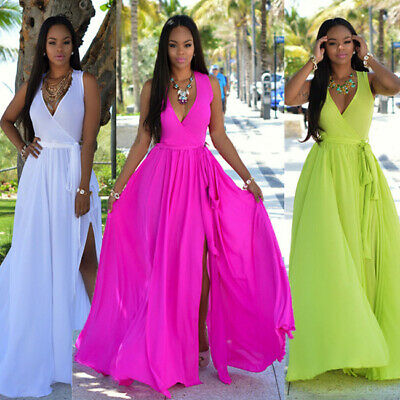 US Stock Womens Floral V-Neck Sexy Long Dress Ladies Maxi Holiday Summer Dresses - Ladies Holiday Dresses