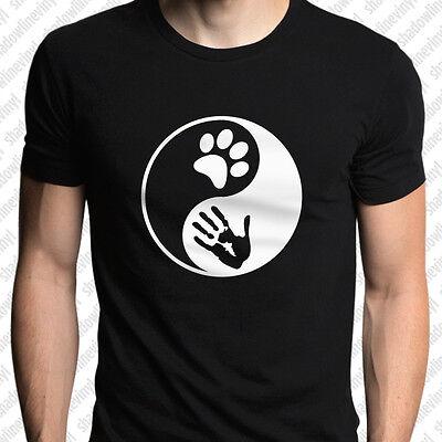 YIN YANG Dog Cat Animal Lover T-Shirt PETA Love Rescue Rights Pet Adopt Taoism