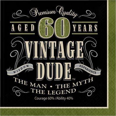 60th Birthday Napkins (Vintage Dude 60th Birthday 3-Ply Lunch Napkins The Man Myth Legend)