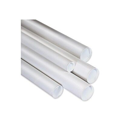 Mailing Tubes With Caps 2-12x24 White 34case