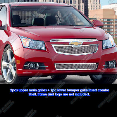 Fits 2011-2014 Chevy Cruze Stainless Steel Mesh Grille Grill Insert Combo