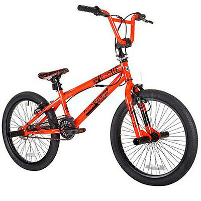 "20"" Orange Boys Mens Free Style Wheel BMX Trick Bike Brakes Gyro Detangler Pegs"